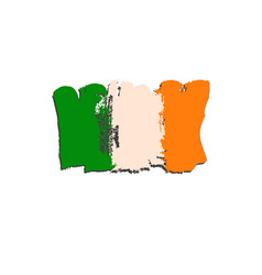 ireland flag painted by brush hand paints art vector image vector image