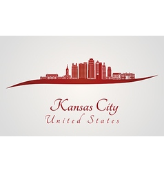 Kansas City V2 skyline in red vector image