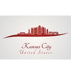 Kansas City V2 skyline in red vector image vector image