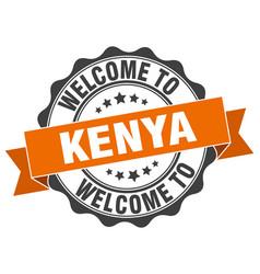 kenya round ribbon seal vector image vector image
