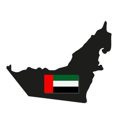 Map of Arab Emirates with flag vector image vector image