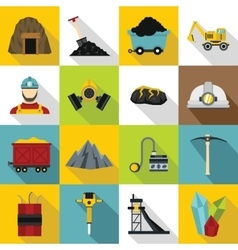 Miner icons set flat style vector