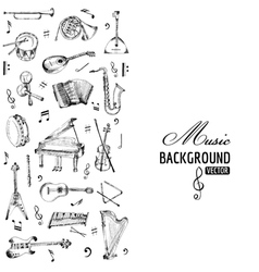 Music instruments background - hand drawn vector