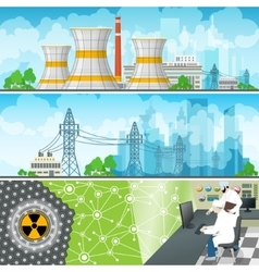 Nuclear power plant horizontal banners vector