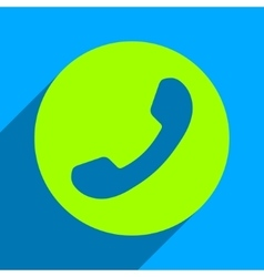 Phone number flat square icon with long shadow vector