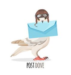 post dove in vintage helmet that holds envelope vector image