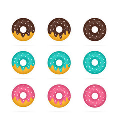 Set of colored donuts in realistic style vector