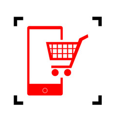 Shopping on smart phone sign red icon vector