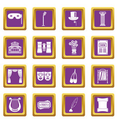Theater icons set purple vector