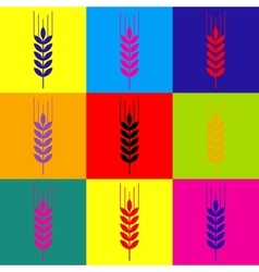 Wheat sign pop-art style icons set vector