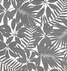 White and black striped tropical leaves seamless vector image