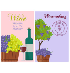 wine of 100 premium quality promotional poster vector image