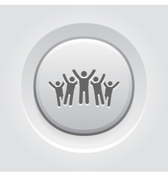 Victory icon grey button design vector