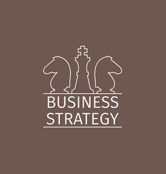 business strategy logo with chess pieces vector image