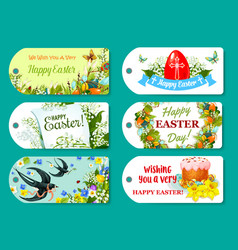 easter greeting tag and label set for gift design vector image