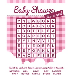Baby Girl Shower Invitation with Word Puzzle vector image