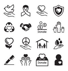 Donate and charity basic icons set vector