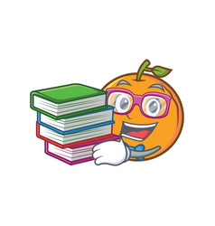 Student with book orange fruit cartoon character vector