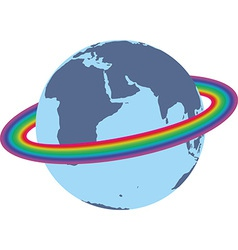 Rainbow around the earth vector image