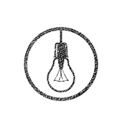 Light bulb icon with hand drawn lines texture vector
