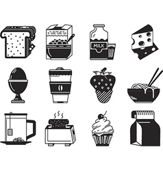 Black monochrome icons for breakfast menu vector