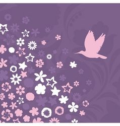 Bird flies up to pink flowers a vector illustratio vector