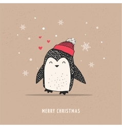 Cute happy penguin - merry christmas greetings vector