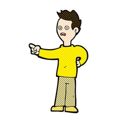 Comic cartoon shocked boy pointing vector