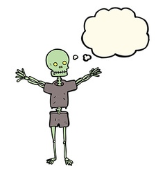 Cartoon skeleton in clothes with thought bubble vector
