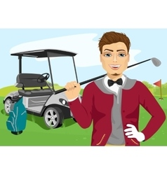 Portrait of handsome male golfer with golf club vector