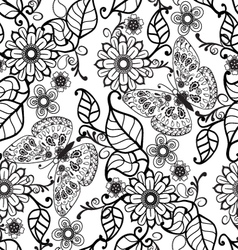 Hand drawn decorative pattern with floral ornament vector
