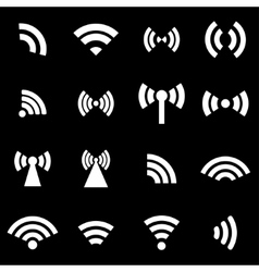 White wireless icons set vector