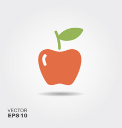 Apple flat icon with shadow vector