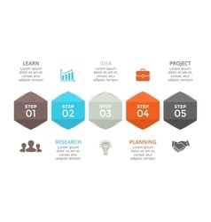 Arrows hexagons timeline infographic vector
