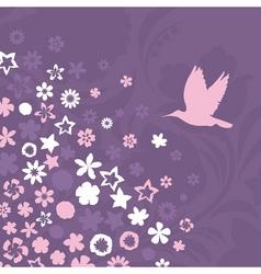 bird flies up to pink flowers a vector illustratio vector image