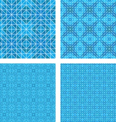Blue mosaic floor design set vector