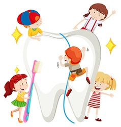 Boys and girls cleaning tooth vector image vector image