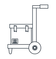 Cart with box carton delivery service vector