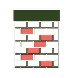 chimney in brick material on color section vector image vector image