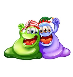 Christmas theme with two monsters having party vector