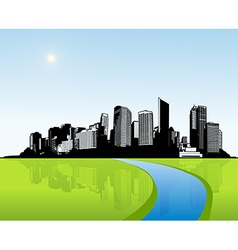 City with green grass art vector image vector image