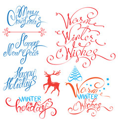 collection of merry christmas and happy new year vector image vector image