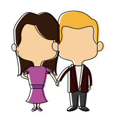 couple of young man and woman hold hands romantic vector image
