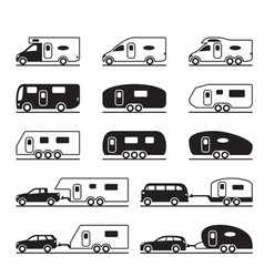 Different caravans and campers vector
