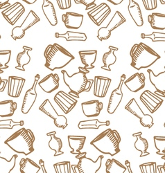 Dishes brown pattern vector image