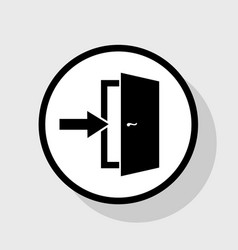 Door exit sign flat black icon in white vector