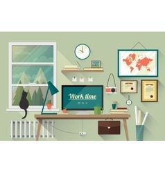 Flat design of the modern workplace vector image