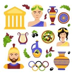 Greece decorative set vector image