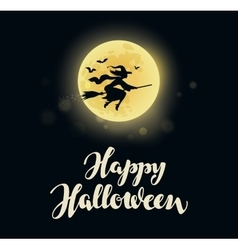 Halloween full moon witch flying on broom vector