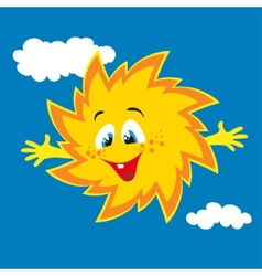 happy cartoon sun smiling vector image